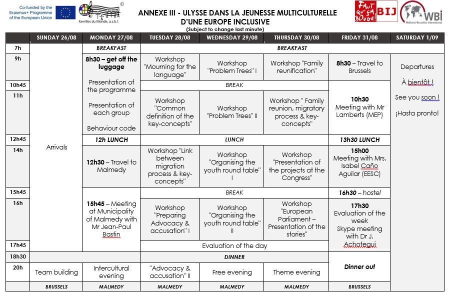 Programme - ULYSSE DANS LA JEUNESSE MULTICULTURELLE D'UNE EUROPE INCLUSIVE
